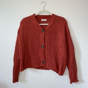 Sweaters - rust chenille cardigan sweater